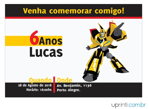 Convites Infantis Para Transformers M13304 Uprinti