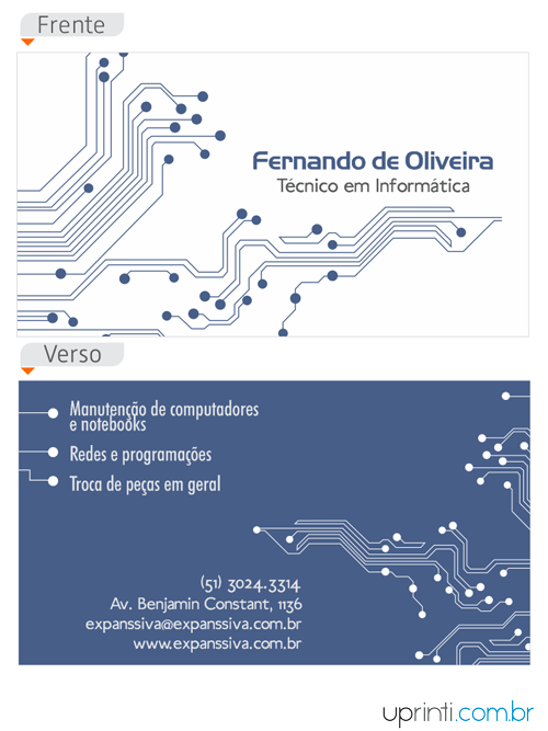 Cartões De Visita Para Informática M9792 Uprinti